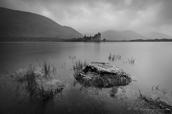 Kilchurn Castle in mono by PMWilliams
