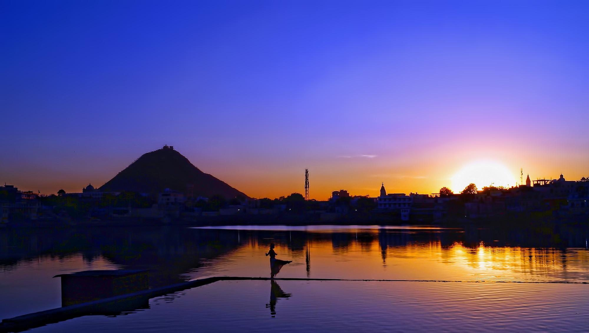 sunset at Pushkar