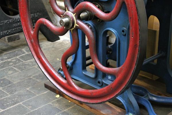 Red Wheel in the Printing Room by helenlinda