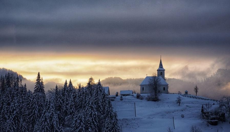 Sunset winter church
