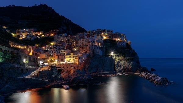 MANAROLA, LIGURIA/ITALY  - APRIL 20 : Night-time view of Manarola by Phil_Bird