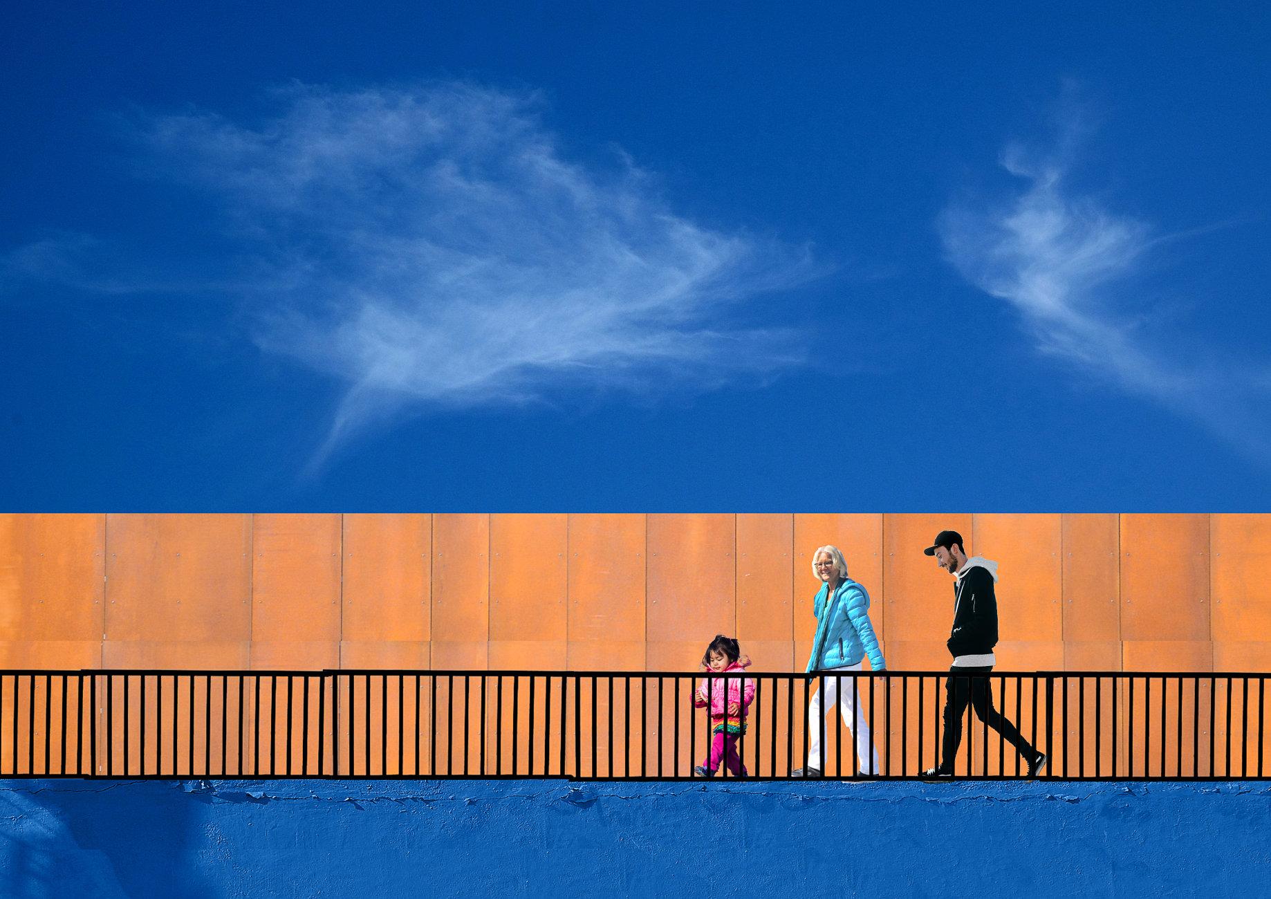 Orange and blue walk