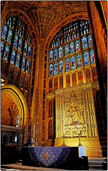 Sherborne Abbey - Main Altar, Reredos and Stained Glass Windows by starckimages