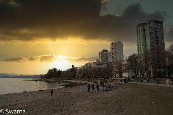 Sunset at English Bay, Vancouver BC III by Swarnadip
