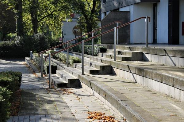 Zig zag shadows up the steps by helenlinda