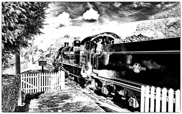 Locomotive 31806 - Corfe Castle Station by starckimages