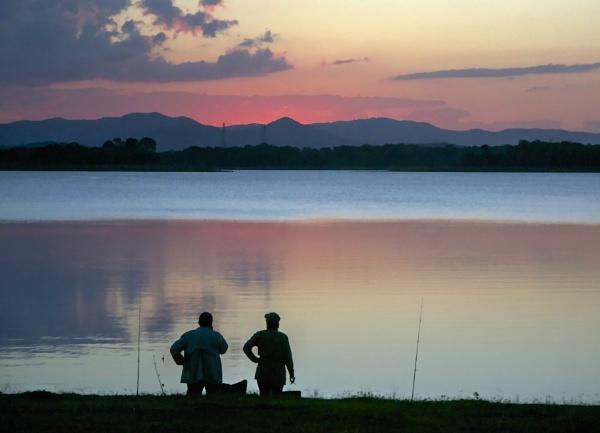 Sunset Pine River Dam Queensland by harrywatson