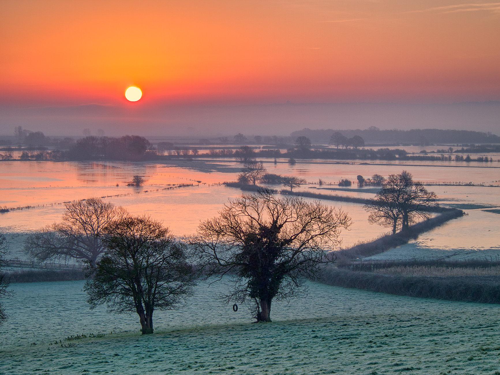 Frozen floods at sunrise, Somerset Levels