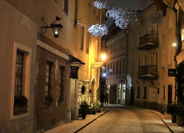 Old town at night by Kabrielle