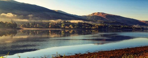 Morning Mist at Loch Fyne by Ffynnoncadno