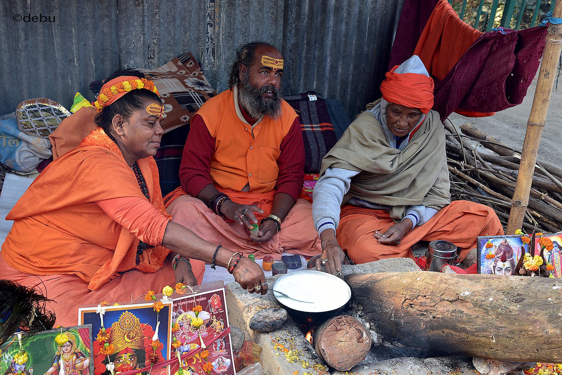 Devotees at the Gangasagar Mela  transit camp kolkata