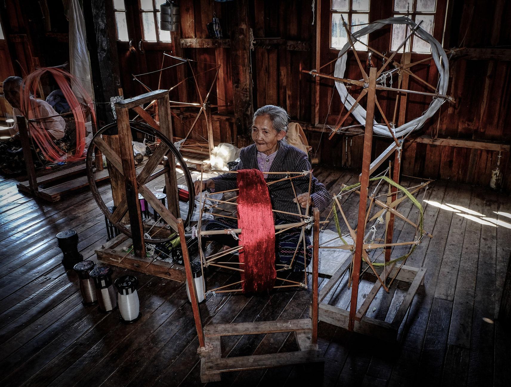 Elderly Lady Spinning- Myanmar