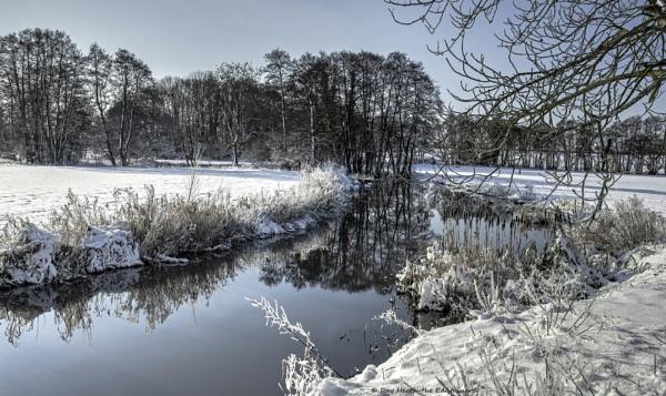 Reflections on stream with heavy snow 3... Feb 2021 by RayHeath