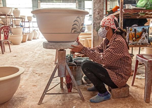 Hand painting at a Ceramics factory near Hanoi, Vietnam --  Part 1 by brian17302