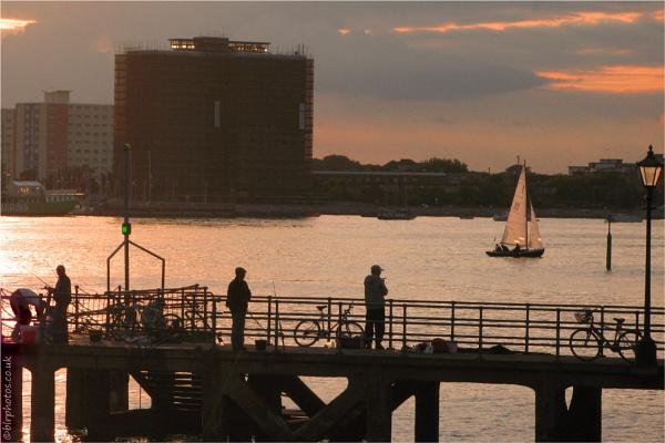 Fishing at Sunset by blrphotos