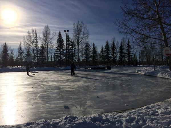 Ice skating rink McKenzie lake Calgary alberta by topcatj