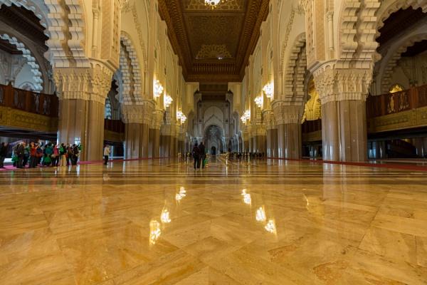 Interior of Great Hassan II Mosque in Casablanca by rninov