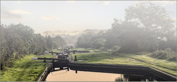 Misty morning at Perry Bar Locks by ivalyn