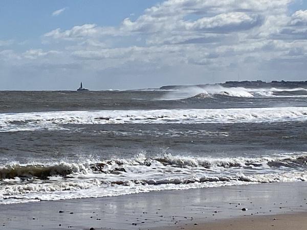 Windy day Blyth beach looking towards St Marys lighthouse by topcatj