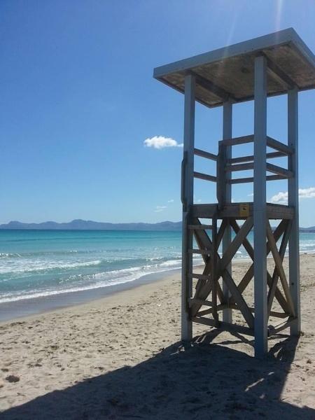 Lifeguard station on beach Alcudia. Majorca,Spain  by topcatj