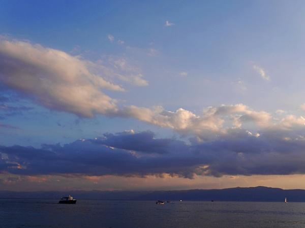 Boat crossing Lake Ohrid in North Macedonia by chrisdunham