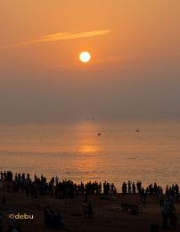 Sunrise at Puri beach,India.