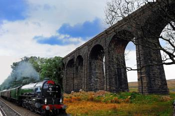 Ribblehead Viaduct with extra train line and Train