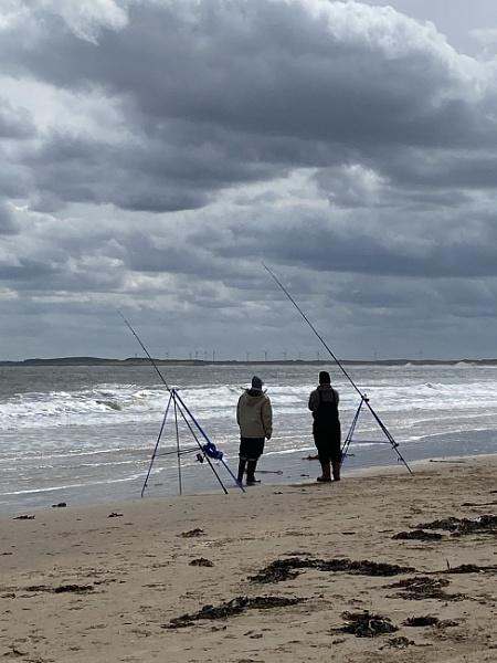 Fishing from the beach Druridge Bay Northumberland by topcatj