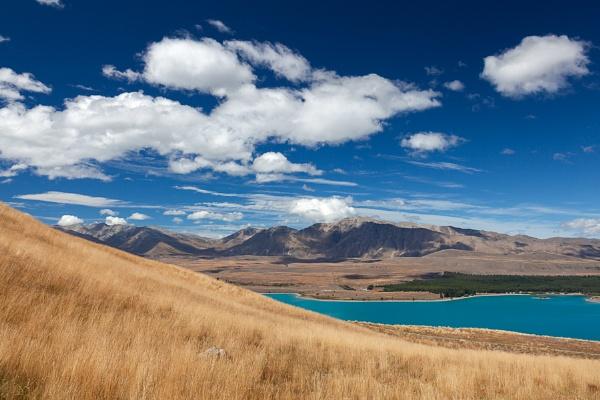 Scenic view of the countryside around Lake Tekapo by Phil_Bird