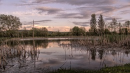 Evening falls over Backwell Lake