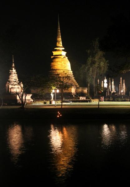 Floodlit Stupas by mikekay