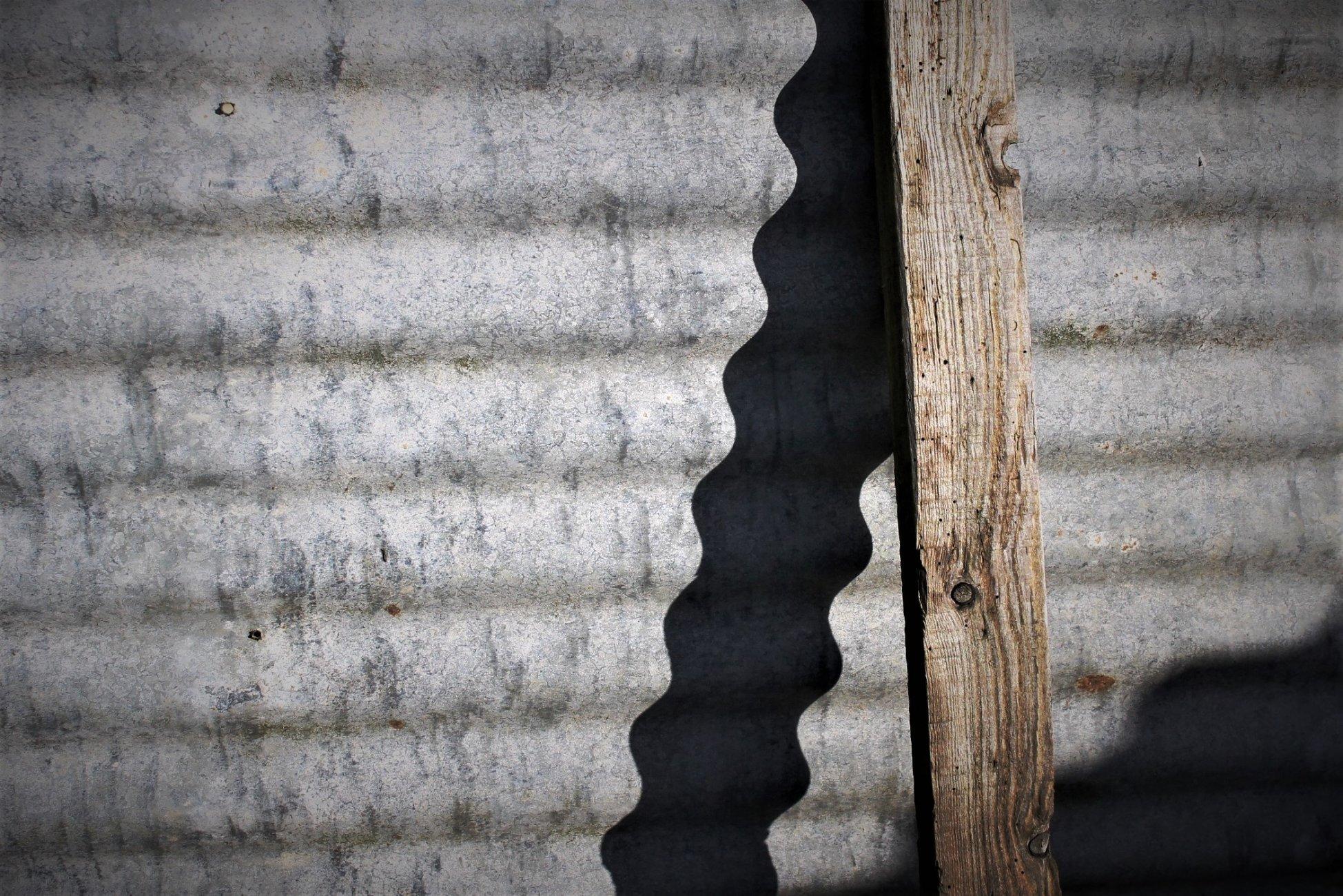 On corrugated iron
