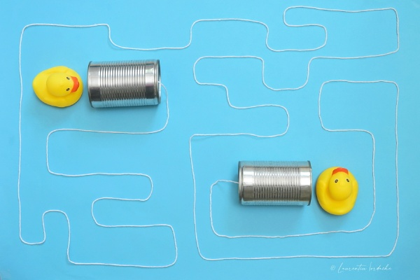 Communication Tin Can Phone With String and Yellow Toy Ducks by jordachelr
