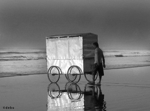 Cycle van for wash in the sea beach(34) by debu