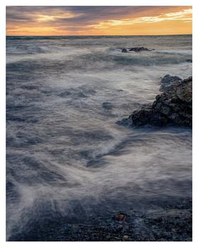 Misty Seas at Sunset