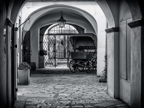 Carriage In A Courtyard by Xandru
