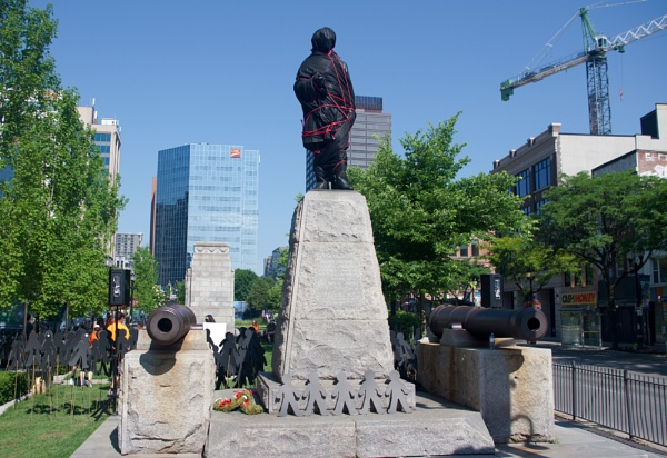 SIR JOHN A MACDONALD STATUE (COVERED) WITH PROTESTS IN GORE PARK IN HAMILTON, ONTARIO (CANADA) by TimothyDMorton