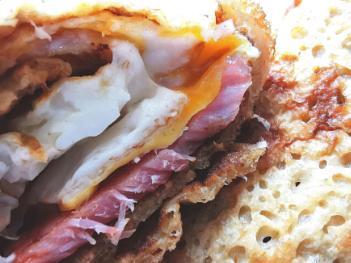 Oatcakes, bacon & egg.