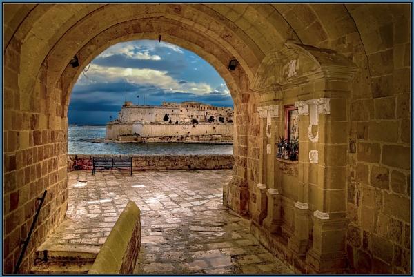 DE-LA SENGLE  \'\'Old medieval stone passage way THROUGH THE BASTIONS\'\' by Edcat55
