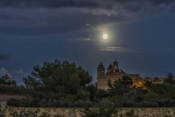 Full Moon During Twilight by Xandru