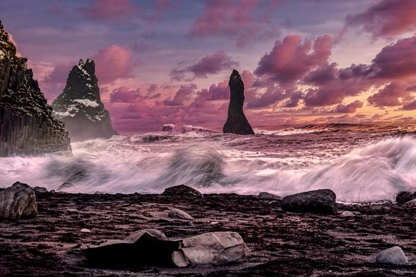 Sunset at Reynisfjara Volcanic Beach by Phil_Bird