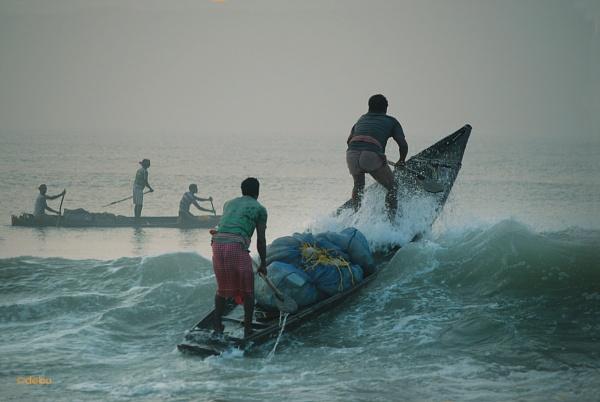 Fight against wave in puri sea beach(44) by debu