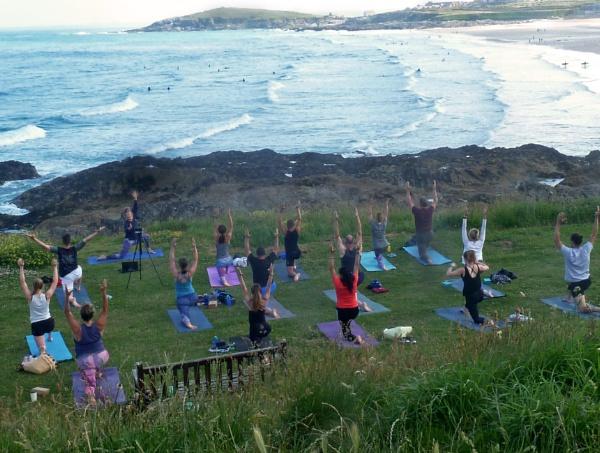 Yoga at Fistral Beach by JuBarney