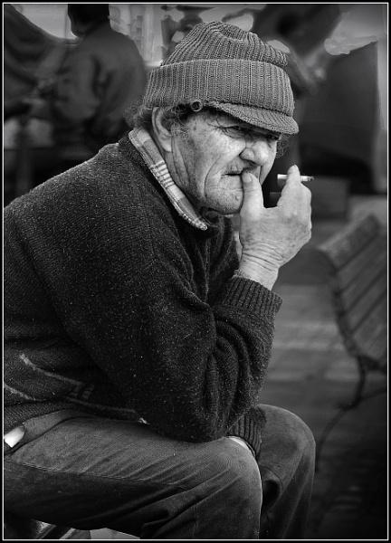 Pensive Fisherman --- taken with 1960\'s SELF-REFURBISHED Super Takumar 100mm F2.8 on a Sony Nex 3 by Edcat55