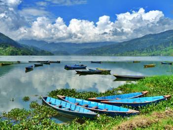 Peaceful lakeside scene, Pokhara, Nepal