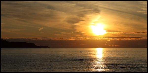 Fishing at sunset, North Antrim coast, Northern Ireland by digichromeed