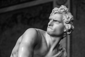 Marble statue of David in Galleria Borghese