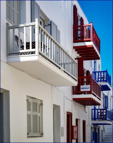 Balconies in Mykanos by ivalyn
