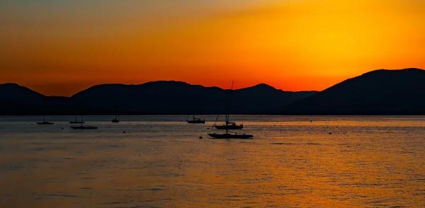 sun going down at Gourrock by SCUBAMAN