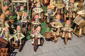 EASTBOURNE, EAST SUSSEX, UK - JULY 29 : Flowerpot men on the promenade in Eastbourne, East Sussex on July 29 2021